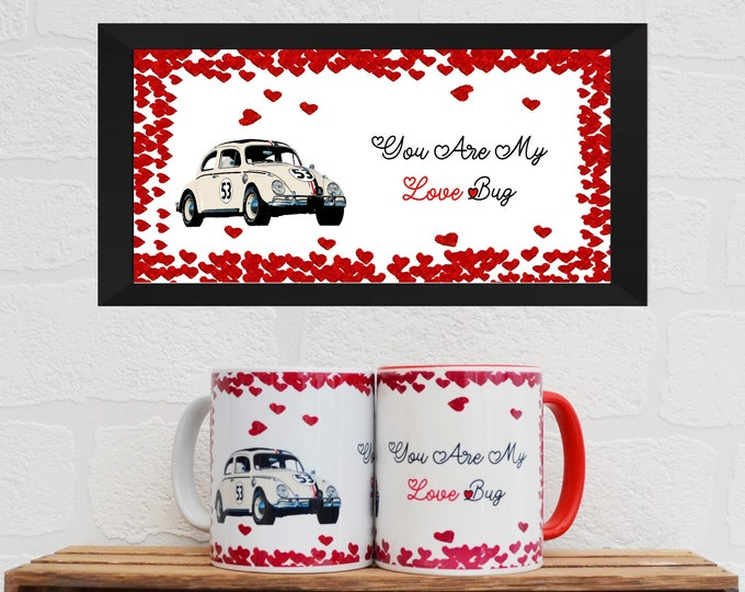Featured listing image: The Love Bug Mug Quote   Mugs   Valentines Gifts   Gifts   Car Memorabilia   Car Enthusiasts   Herbie   Film Memorabilia   Film Gifts