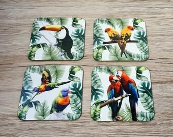 Tropical Bird Coasters | Coaster | Birthday Gifts | Dinnerware Sets | Table Setting | Macaw | Toucan | Conure | Rainbow Lorikeet |