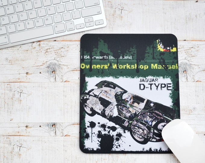 Featured listing image: Mousemats Jaguar D-Type Haynes | Mousemats | Birthday Gifts | Jaguar Gifts | Car Memorabilia | Car Enthusiasts | Motorsport Gifts | Office |