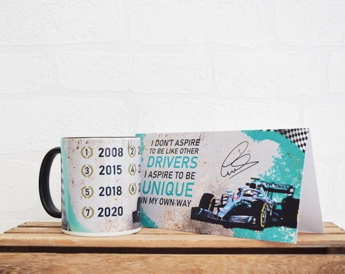 Featured listing image: Lewis Hamilton Gift Set | F1 | Gift Set | F1 Gifts | Driver Quotes | Cards | Special Occasions | Blank Cards | Racing Mugs | Mercedes-Benz |