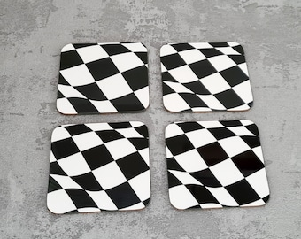 Wavey Chequered Flag Coasters | Coasters | Birthday Gifts | Coasters | Dinnerware Sets | Table Setting | Motorsport | Chequered