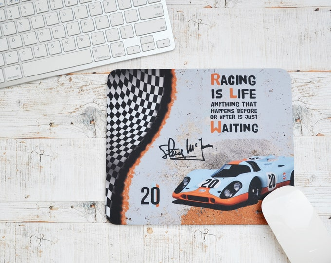 Featured listing image: Mousemats Steve McQueen Quote | Mousemats | Birthday Gifts | Le Mans Gifts | Car Memorabilia | Car Enthusiasts | Motorsport Gifts | Office |
