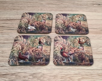 Game Bird Coasters | Coaster | Birthday Gifts | Dinnerware Sets | Table Setting | Partridge | Pheasant | Woodcock | Red Grouse | Shooting