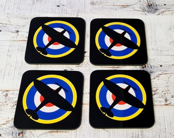 RAF Spitfire Coasters | Coaster | Birthday Gifts | Dinnerware Sets | Table Setting | RAF | Spitfire | Christmas Gifts | Coasters
