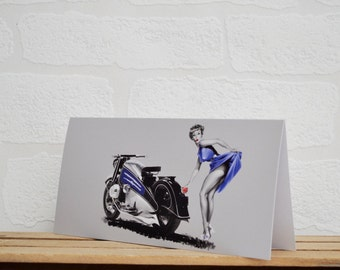 Pin Up Girl Greeting Cards | Cards | Motorbike Card | Pin Up Card | Motorbike Memorabilia | Bike Enthusiasts | Retro Bike | Pin Up Girl