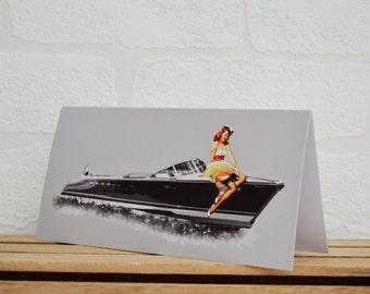 Pin Up Girl Greeting Cards | Cards | Boat Card | Pin Up Card | Boat Memorabilia | Boat Enthusiasts | Riva | Pin Up Girl