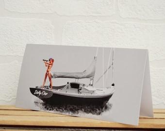 Pin Up Girl Greeting Cards | Cards | Sailing Boat Card | Pin Up Card | Boat Memorabilia | Sailing Enthusiasts | Sailing Boat | Pin Up Girl
