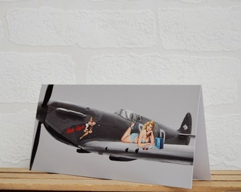 Pin Up Girl Greeting Cards | Cards | Spitfire Card | Pin Up Card | Spitfire Memorabilia | Boat Enthusiasts | Supermarine Spitfire | Pin Up