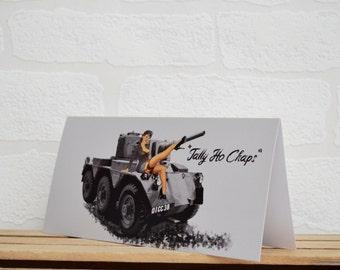 Pin Up Girl Greeting Cards | Cards | Tank Card | Pin Up Card | Army Memorabilia | Tank Enthusiasts | Riva | Pin Up Girl