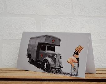 Pin Up Girl Greeting Cards | Cards | Retro Truck Card | Pin Up Card | Car Memorabilia | Car Enthusiasts | Beer Truck | Pin Up Girl