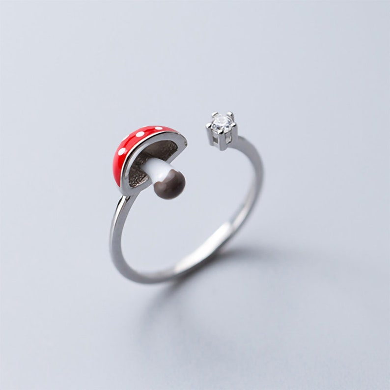 925 silver mushroom ring simple gifts for women dainty delicate stackable zirconia adjustable opening glazed process lovely red jewelry