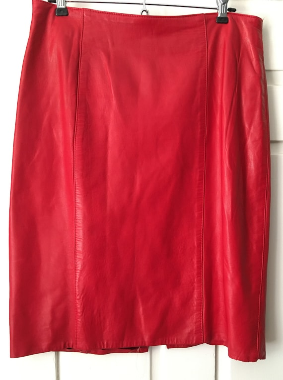 Vintage candy apple red leather pencil skirt