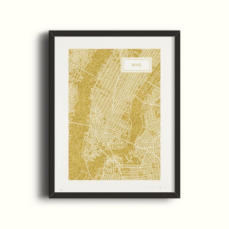 New York City  Sescreen gold glitter  30 copies  Paper 350g image 0