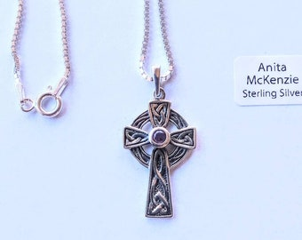 Choice of 4 different designs. Celtic Necklaces in Sterling Silver with Amethyst stones by Anita McKenzie