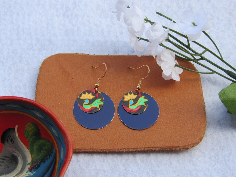 Boho Rich Blue Handmade from Recycled Materials Green and Yellow Floral Design on Layered Circular Dangle Tin Earrings Red
