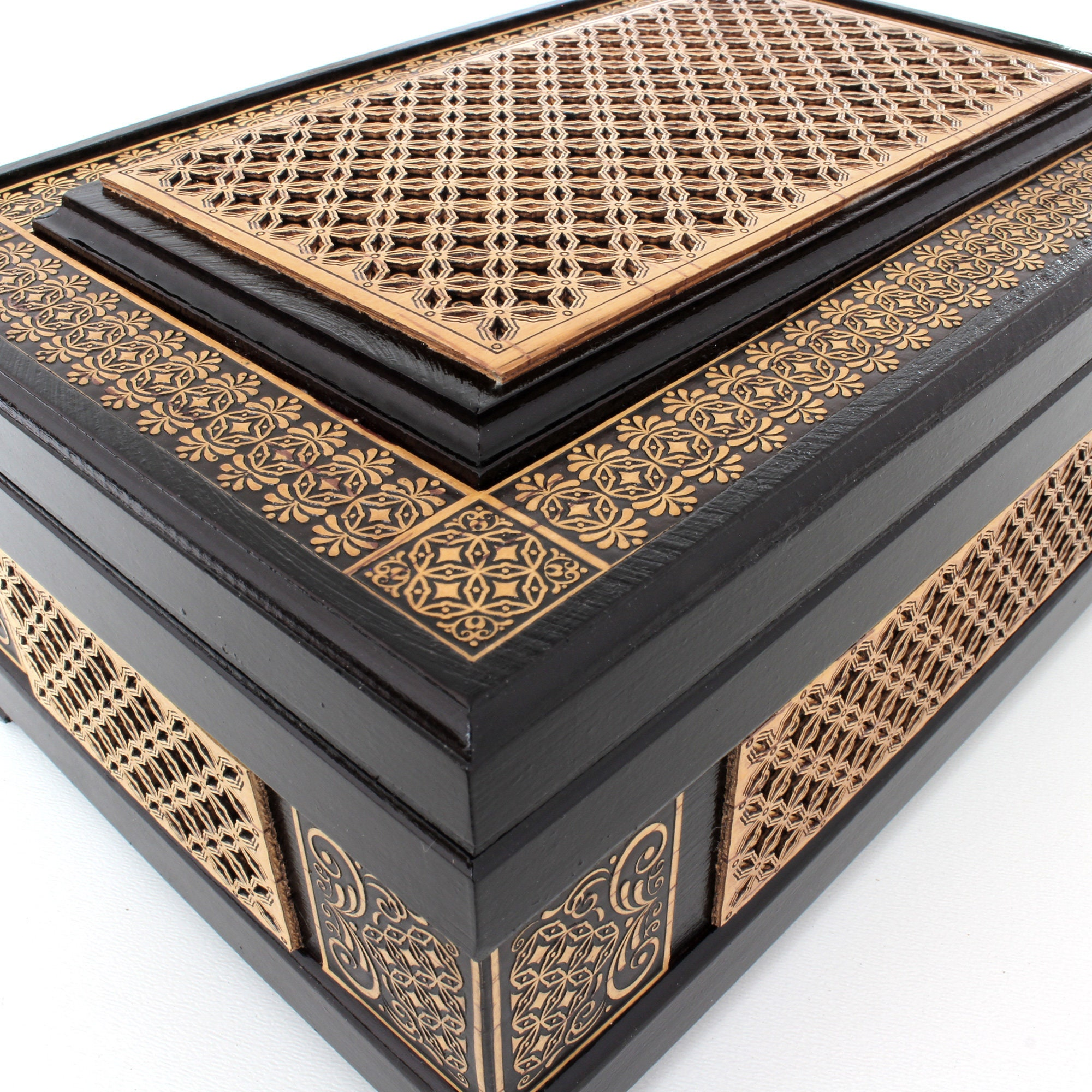 Large wooden chest inlaid with birch bark. Decorative jewelry box, handmade - intricate carving. Velvet lining inside.