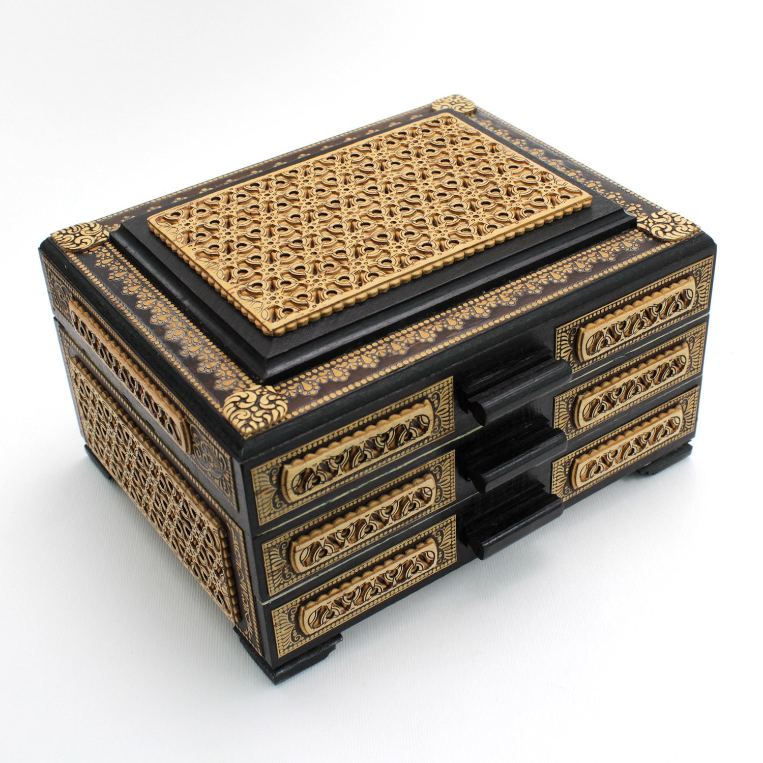 Tabletop wooden chest of drawers for jewelry, inlaid with carved birch bark. Has three pull-out tiers, velvet fabric inside. View 2