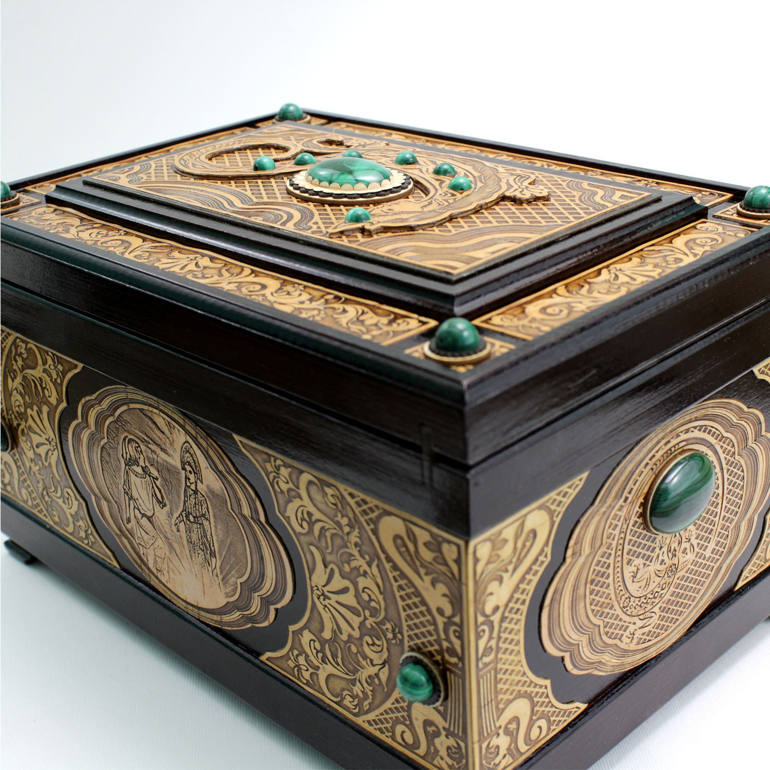 Large wooden chest inlaid with malachite and birch bark. Jewelry box with two tiers and cells with soft velvet at the bottom.Malachite Chest
