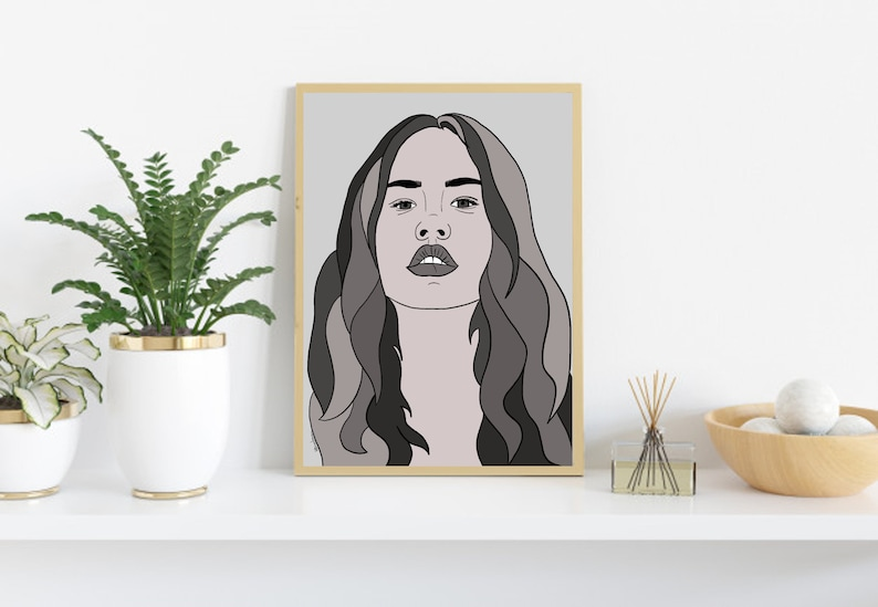 Personalized digital portrait Gift for any occasion Printable wall art Line Art Portrait Christmas Gift Portrait in black and White