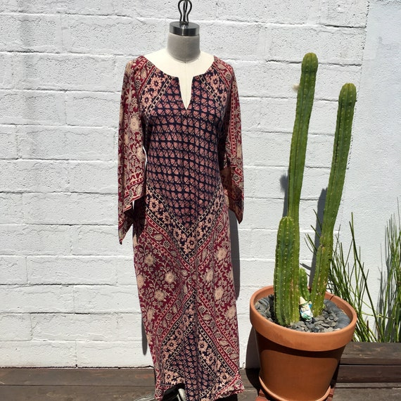 Vintage Ethnic Maxi Block Printed Maxi Dress/ Kaft