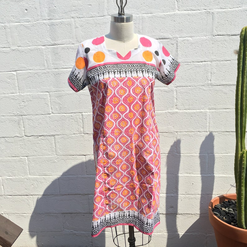 Indian Colorful Block Printed Tunic SS ~ Unique  Print