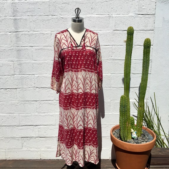Vintage Indian Dress Printed Gauze Dress ~ Rare Fi