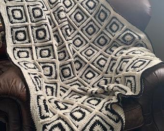Handmade Crochet Black White Blanket Throw Afghan