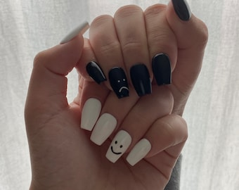 Smiley Face Nails Etsy To do this, dab on two dots near your cuticle (you can use a toothpick to be more precise) and make half of the letter o below it. smiley face nails etsy