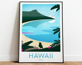 Hawaii travel print - Oahu, Hawaii poster , Oahu print, Honolulu print, wedding gift, birthday poster