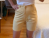 1960s Light Yellow White Striped Short