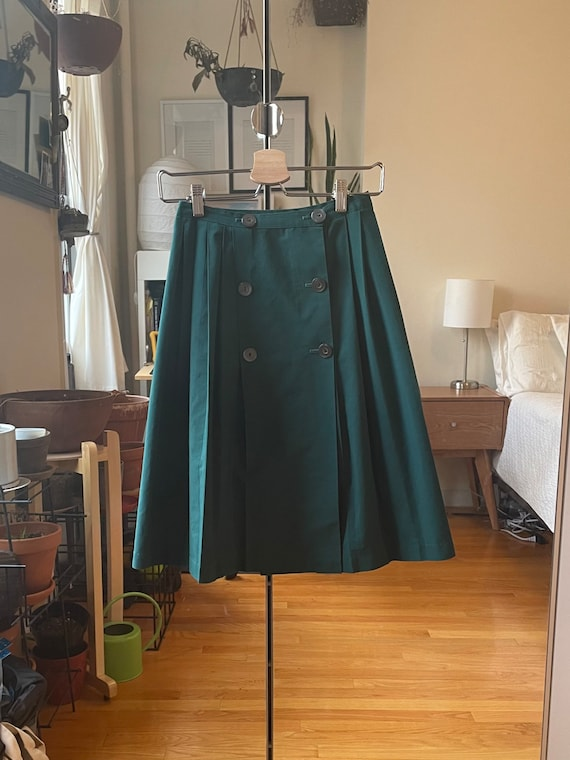 1970s Green Pleated Skirt XS