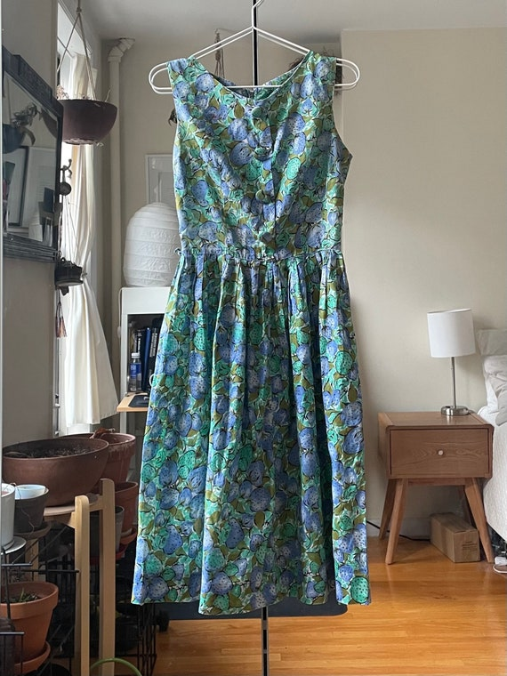 1950-60s Blue Strawberry Dress XS