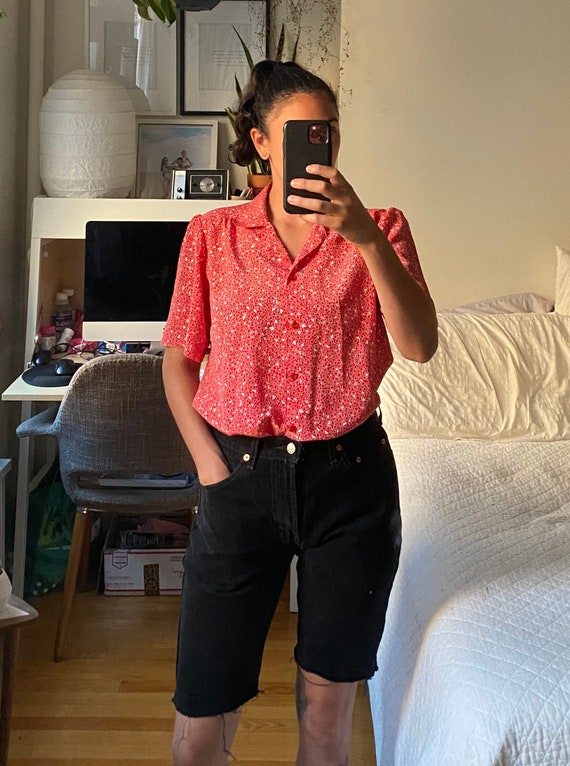 1980s Red Abstract Print Collared Shirt
