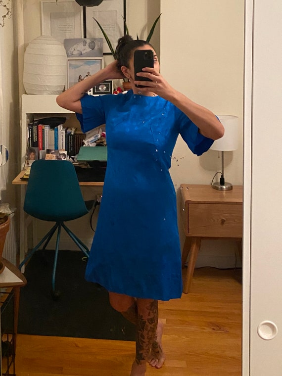 1960-70s Bell Sleeve Textured Dress Small