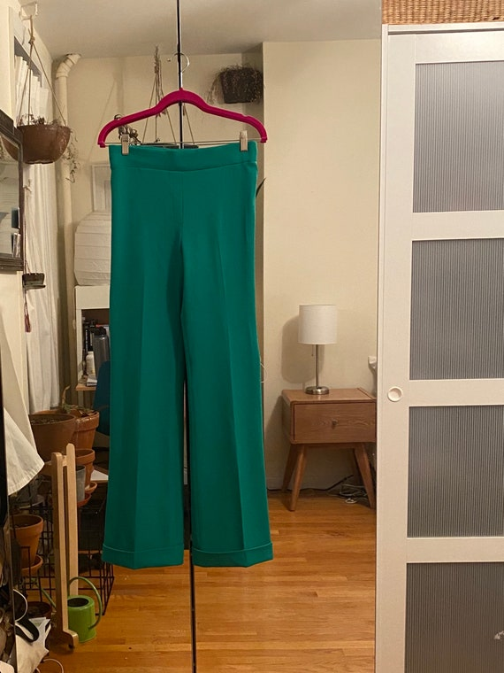 1970s Bright Green Striped Bell Bottoms