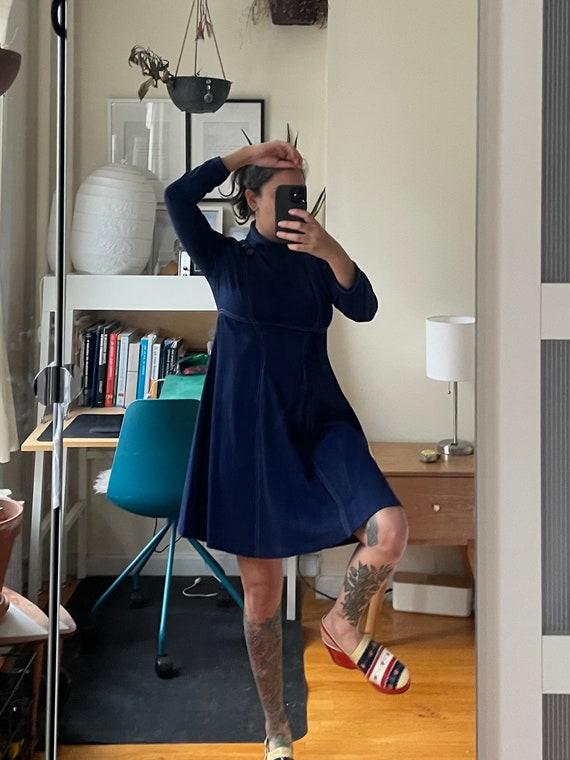 1960s Homemade Navy Dress S/M