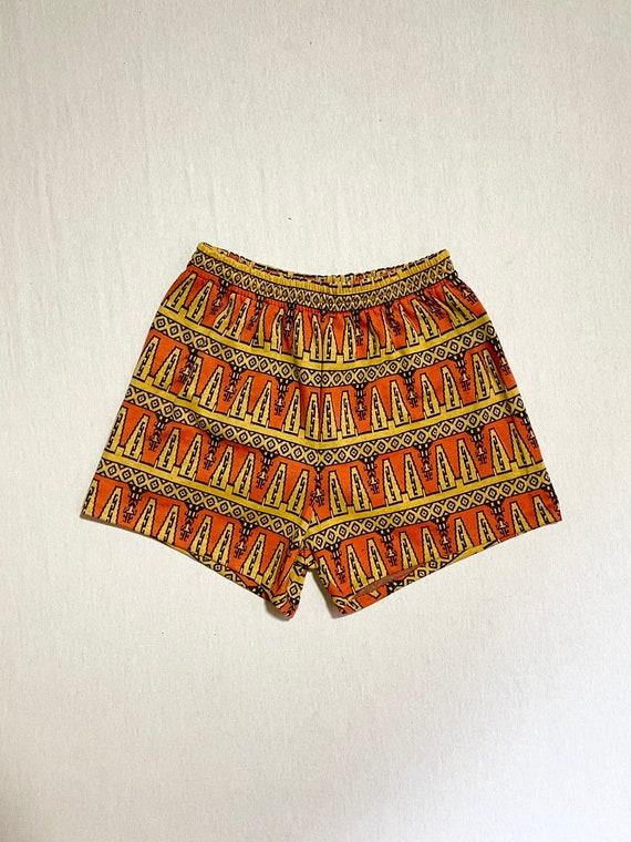 1960s Dead Stock Tiki Prints Shorts/Men's Swim Sho