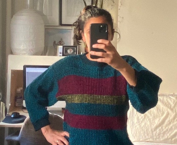 1980s Striped Heathered Sweater