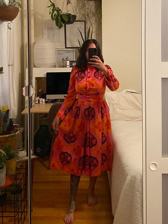 1960s Silk Bonwit Teller Psychedelic Print Dress