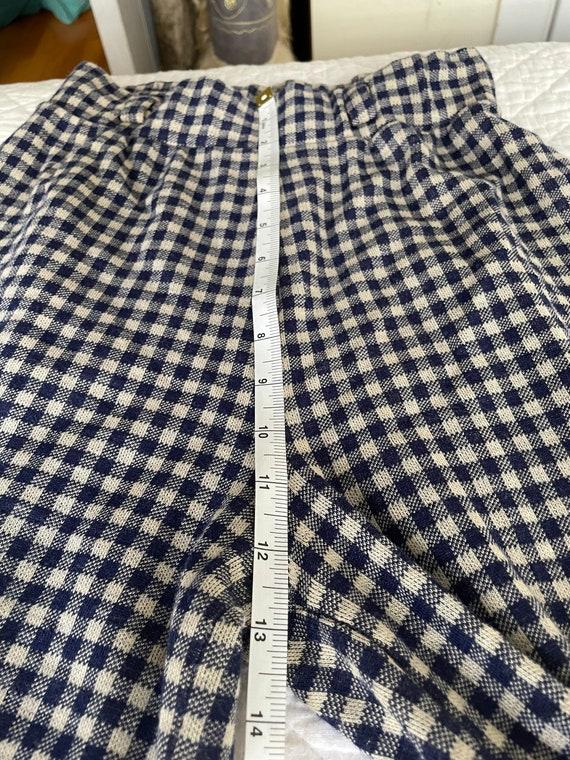 1970s Sears Dark Navy Gingham Print Pants S-L - image 7