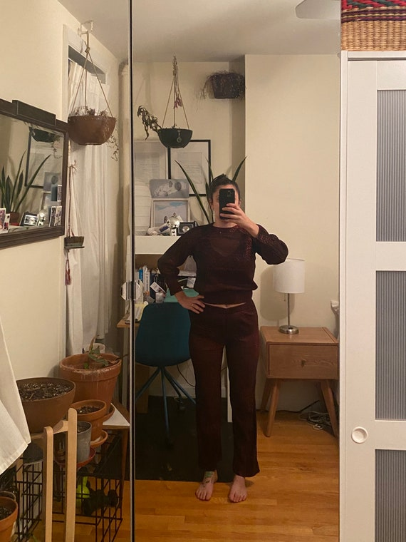 1970s Red Shiny See through Two-Piece - image 2