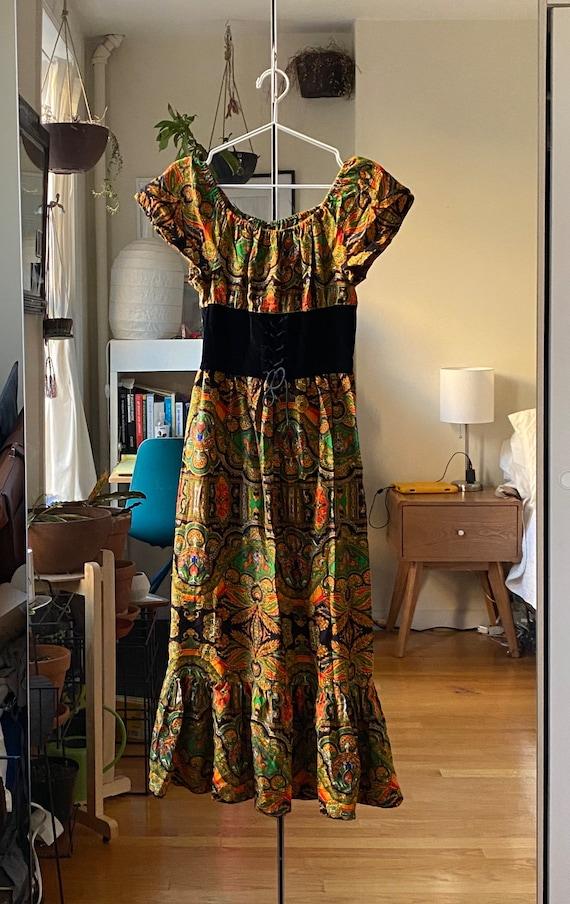 1960s Corset Waist Paisley Print Dress XS/S