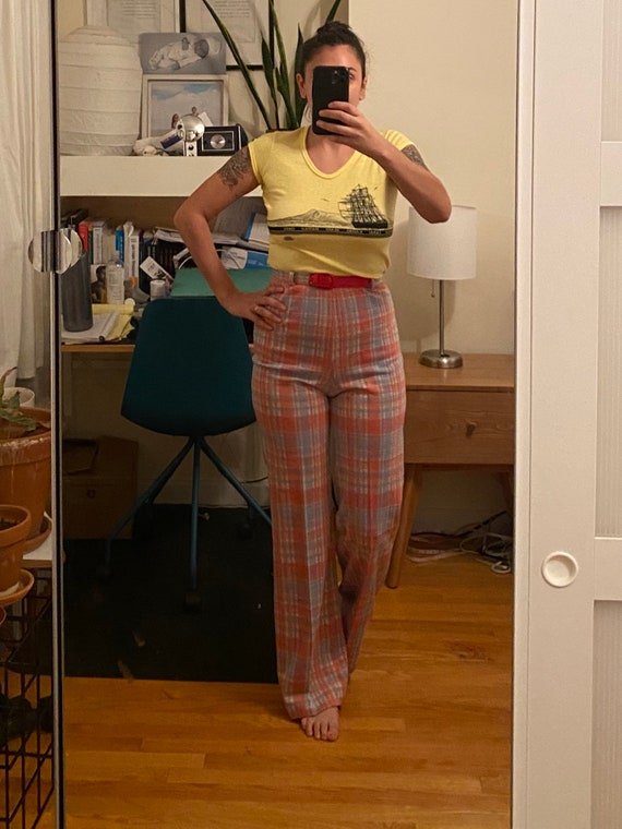 1970s Belted Plaid Trousers