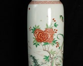 Kangxi, Qing Dynasty Ancient color flower and bird vase, Chinese antique,