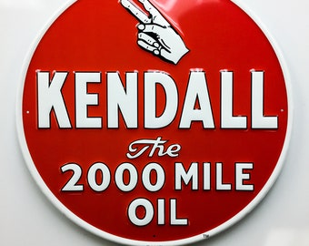 Kendall Motor Oil Embossed Metal Sign