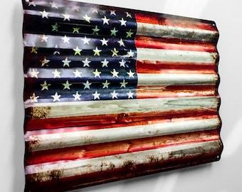 16 Inch Rustic American Flag Metal Sign