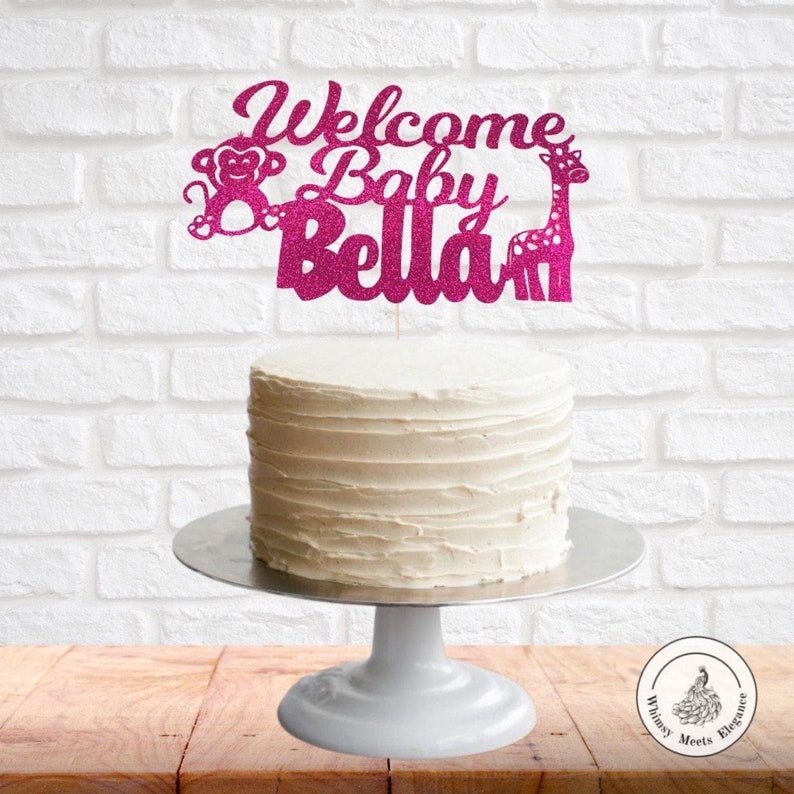 Animal Baby Shower Cake Topper Jungle Topper Baby Shower Cake Topper Safari Baby Shower Cake Topper Welcome Baby Custom Name Cake Topper