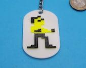 Bruce Lee C64 US Gold Game Keyring. 3D Printed. Retro 80's Gamer Gift.