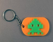 Space Invaders Game Keyring. 3D Printed. Retro 70's 80's Arcade Gift.
