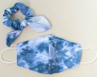 White/Blue Tie-Dye face mask and Scrunchie Set